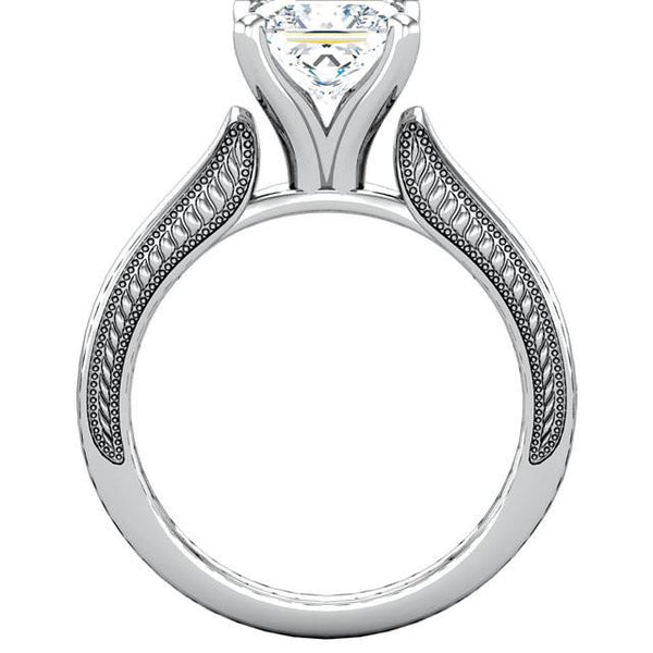 Solitaire Ring Vintage Style 2 Carat Princess Diamond Solitaire Ring White Gold 14K