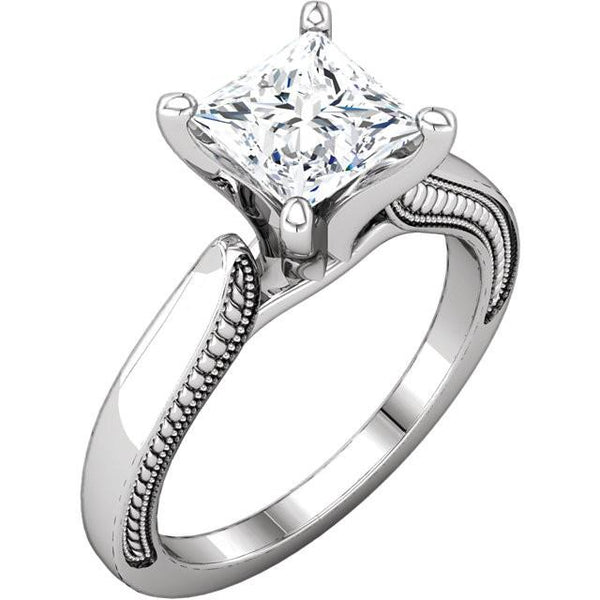 Vintage Style 2 Carat Princess Diamond Solitaire Ring White Gold 14K Solitaire Ring