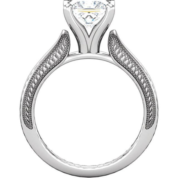 Prong Setting 2 Carat Princess Diamond Solitaire Ring White Gold 14K Solitaire Ring