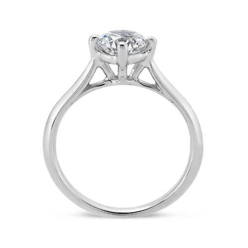 Prong Setting 1.5 Carat Round Brilliant Diamond Solitaire Ring White Gold 14K
