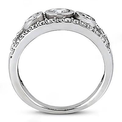1.46 Carat Three Stone Diamond Engagement Ring White Gold