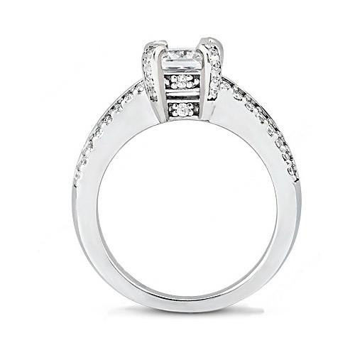 Solitaire Ring with Accents Princess Cut Diamond Solitaire Ring 2.20 Ct. Diamond With Accent