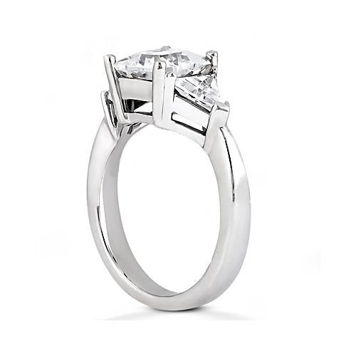 Princess Cut Diamond Three Stone Ring 2.21 Ct. Ring With Side Trilliants Trillions
