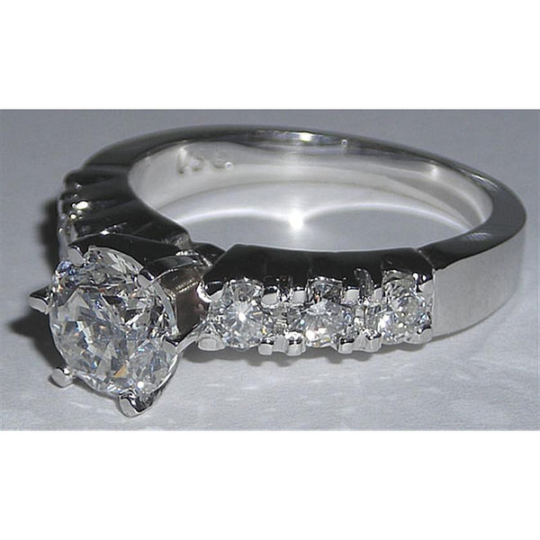 New Engagement Ring 1.60 Ct F Vvs1 Diamond White Gold 14K Solitaire Ring with Accents