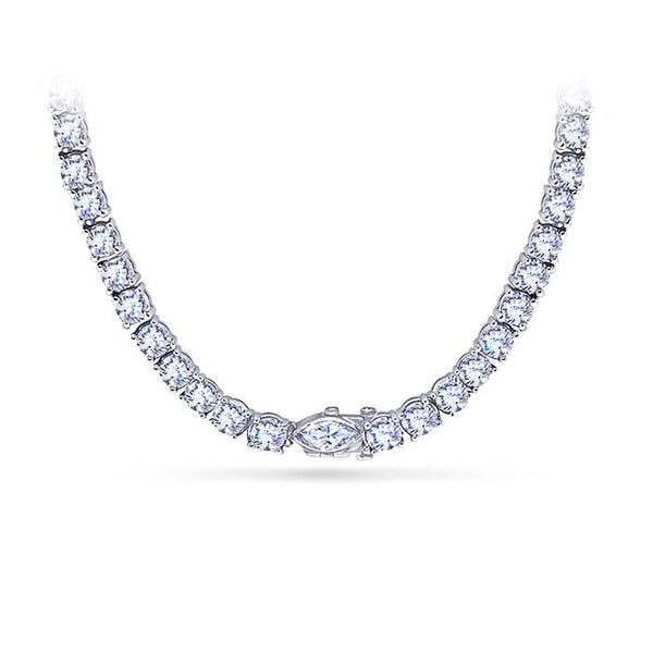11 Carats Sparkling Diamonds Graduated Tennis Necklace White Gold Jewelry New