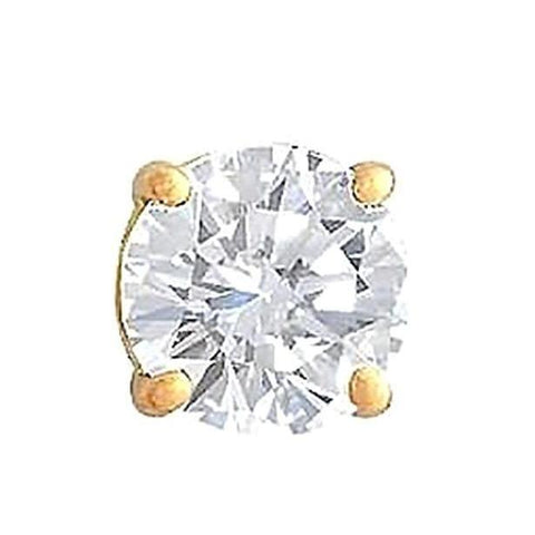 1.25 Carat Men'S Single Diamond Stud Earring Yellow Gold Single Stud