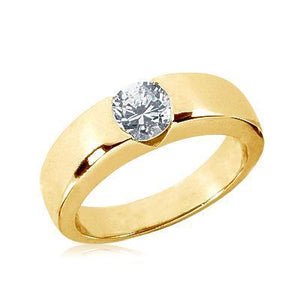 1.25 Carat Round Brilliant Diamond Solitaire Engagement Ring Gold New Mens Gents Mens Ring