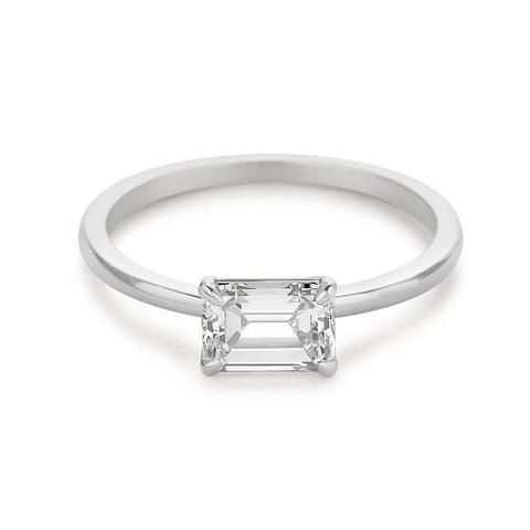 1.25 Carats Emerald Cut Solitaire Diamond Ring East West Setting Solitaire Ring