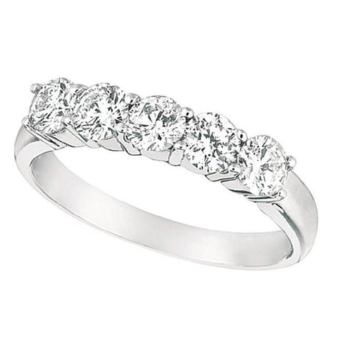 1.25 Carats Five Stone Engagement Ring White Gold 14K Band