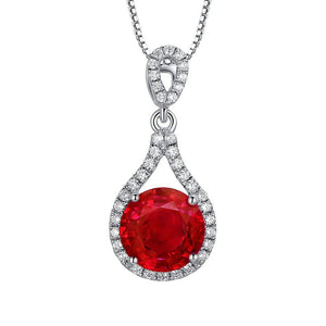 1.25 Carats Round Cut Red Ruby With Diamond Necklace Pendant White Gold 14K Gemstone Pendant
