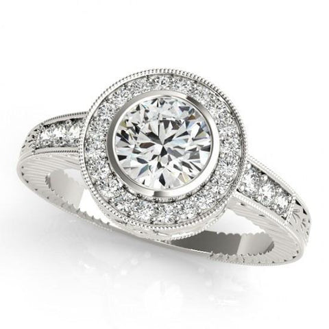 1.25 Carats Round Diamonds Halo Fancy Ring Gold White 14K Halo Ring