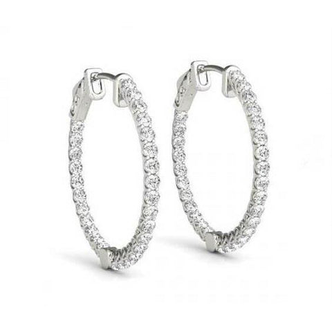 1.25 Ct. Diamonds Hoop Earring Bezel Set Diamond Earring Gold Hoop Earrings