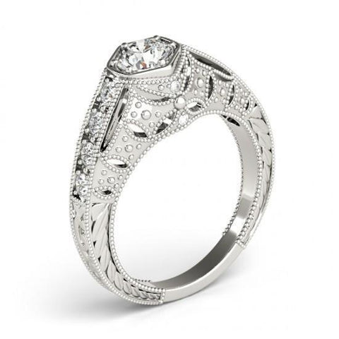 1.25 Ct. Diamonds Solitaire With Accents Engraved Ring White Gold 14K Solitaire Ring with Accents