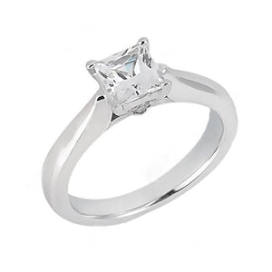 1.25 Ct. F Vs1 Diamond Solitaire Ring Princess Diamond Solid 18K White Gold Ring Solitaire Ring