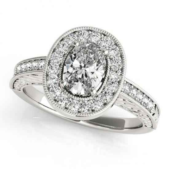 1.25 Ct. Halo Diamonds Engagement Ring Solid Gold Oval Round Diamonds Halo Ring