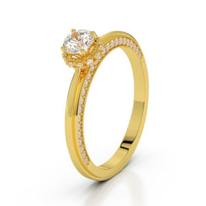 1.25 Ct Round Cut Sparkling Diamond Wedding Ring 14K Yellow Gold Anniversary Ring