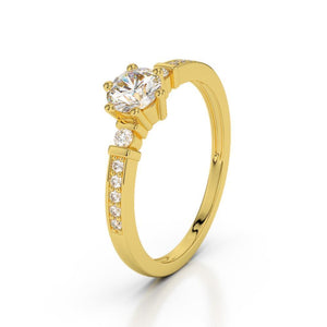 1.25 Ct Solitaire With Accent Diamonds Engagement Ring Gold Yellow 14K Solitaire Ring with Accents