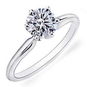 1.25 Ct White Gold Ladies Round Cut Solitaire Diamond Wedding Ring Solitaire Ring