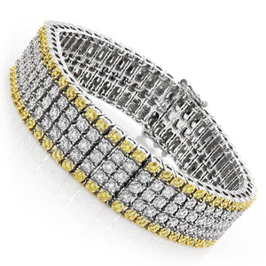 12.50 Carats Yellow And White Diamonds Mens Bracelet Two Tone Gold 14K Mens Bracelet