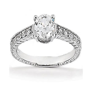 1.26 Carat Diamond Ring Solitaire With Accents White Gold Solitaire Ring with Accents