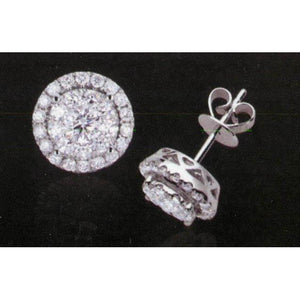 1.26 Ct Pair Diamond Stud Halo Jacket Earring Studs- Halo