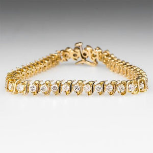 12.8 Carats Round Diamond Tennis Bracelet F/G Vs2/Si1 40 Stones Yellow Gold 14K Tennis Bracelet