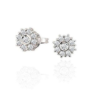 1.28 Ct Round Cut Diamond Stud Halo Earring 14K White Gold Halo Stud Earrings