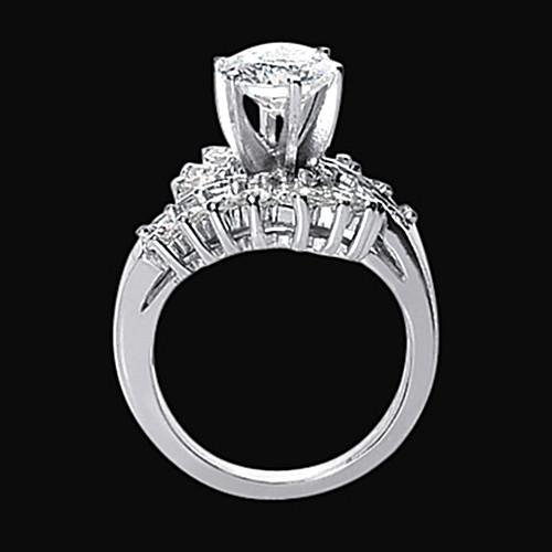 Engagement Ring 3 Carat Diamond Floral Style Engagement Ring Lady Jewelry White Gold