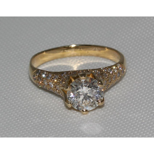 3 Carat Diamonds Yellow Gold Ring Solitaire With Accent Solitaire Ring with Accents