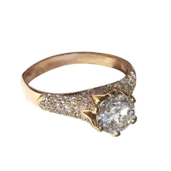 3 Carat Diamonds Yellow Gold Ring Solitaire With Accent