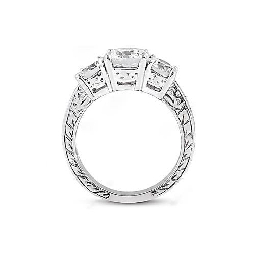 Diamond Three Stone Ring Engagement Gold White 3 Ct.