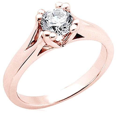 3 Ct. F Vs1 Round Diamond Solitaire Ring Pink Gold New Solitaire Ring