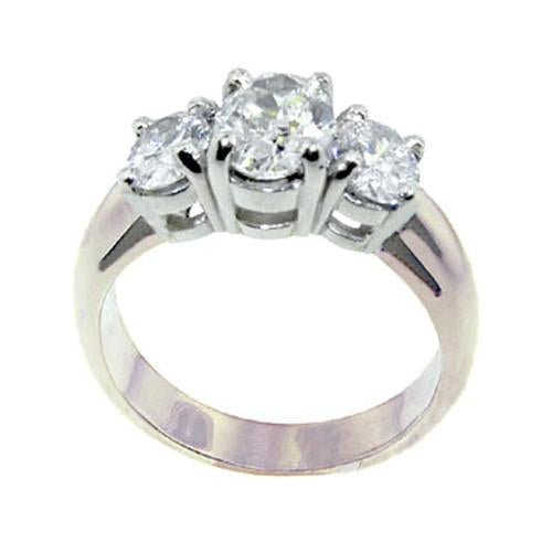 Diamonds  3 Stone Women Engagement Ring White Gold Ring 3 Cts.
