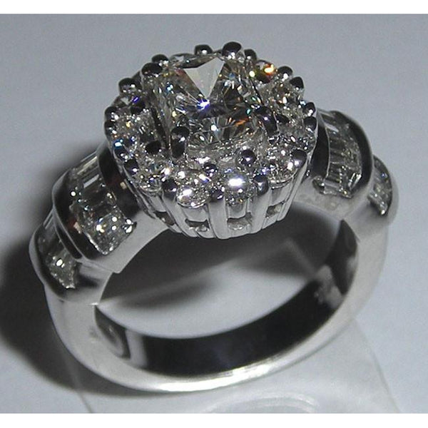 Radiant Cut Diamonds Women Ring 3.01 Carat Antique Look White Gold Engagement Ring Engagement Ring
