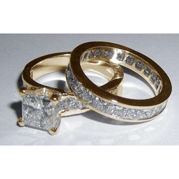 3.01 Carat Princess Cut Diamonds Fancy Engagement Ring Gold