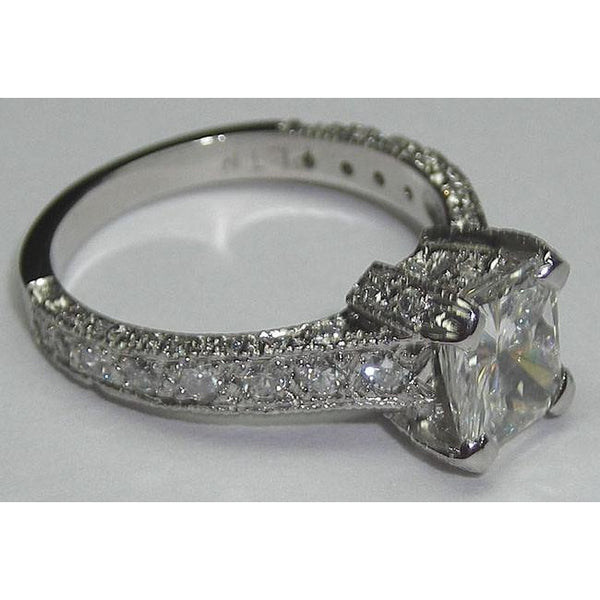 3.01 Carats Princess Cut Pave Fancy Diamond Ring Platinum New Solitaire Ring With Accents Solitaire Ring with Accents