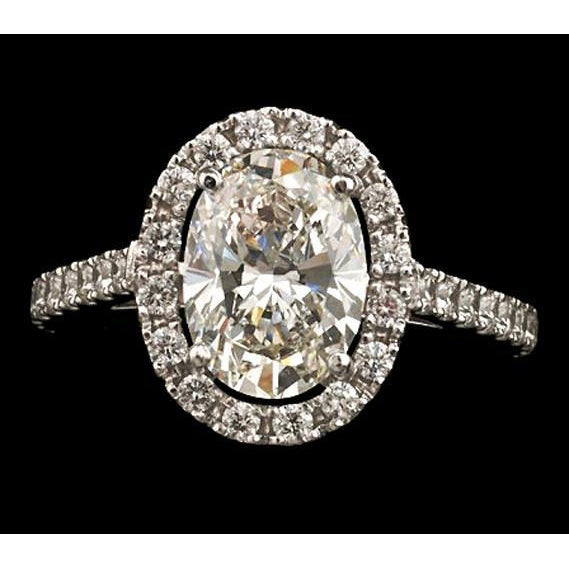 Oval Center Diamond Women Halo Engagement Ring White Gold 3.25 Ct. Halo Ring