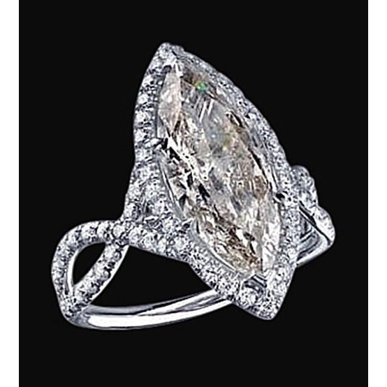 3.91 Carat Marquise Diamond Ring White Gold Pave Fancy Diamonds Ring
