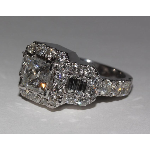 Halo Ring 4 Carat Diamonds Ring Princess Cut Engagement Antique Style Ring White Gold 14K