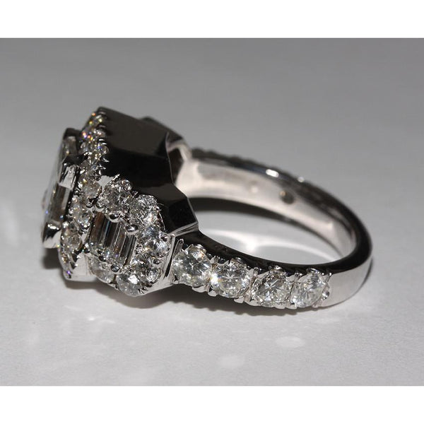 4 Carat Diamonds Ring Princess Cut Engagement Antique Style Ring White Gold 14K Halo Ring