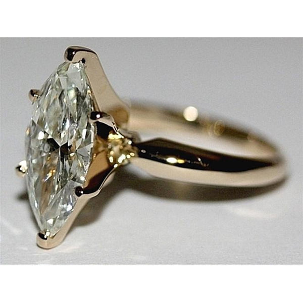 Marquise Diamond Solitaire Women Ring Huge Beautiful White Gold New 4 Ct.