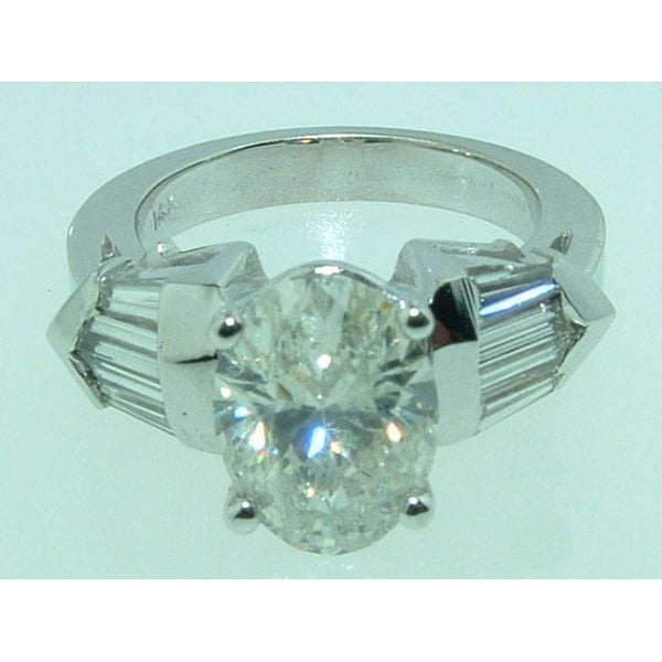 Three Stone Ring 4.01 Ct. Oval & Baguette Diamonds Three Stone Style Engagement Ring White Gold 14K