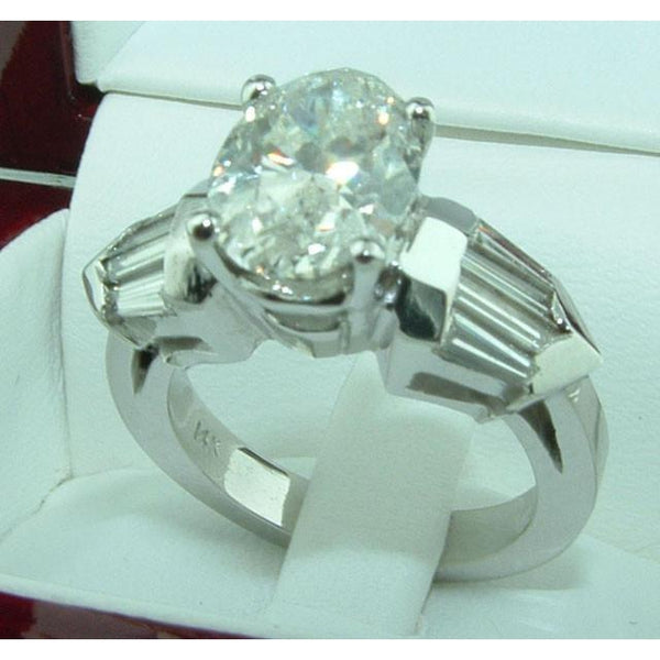 4.01 Ct. Oval & Baguette Diamonds Three Stone Style Engagement Ring White Gold 14K Three Stone Ring