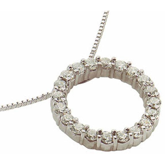 Circle Of Life Diamond Women Pendant With Chain White Gold 5 Carats