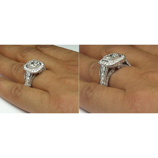 Diamond Women Engagement Halo Ring White Gold 14K Accents 5.51 Carats Halo Ring