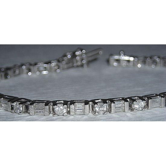 7 Carats Diamond Tennis Bracelet White Gold Baguettes & Round Brilliant Diamonds Tennis Bracelet
