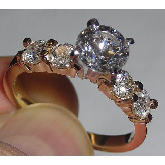 Diamonds 3.76 Carat Engagement Antique Style Ring & Band Set Gold Yellow