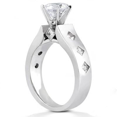Diamonds Anniversary Ring F Vvs1 Diamonds 2.01 Ct. Gold Solitaire Ring with Accents
