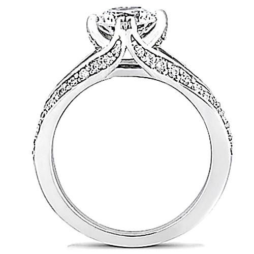 Solitaire Ring with Accents E Vvs1 Diamond Solitaire Ring Women Diamonds With Accents Gold 1.75 Ct