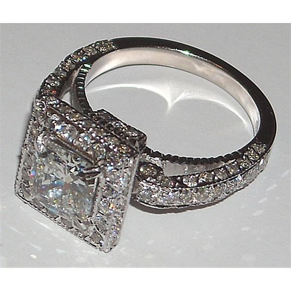 Halo Ring Princess Diamond Engagement Fancy Ring 5.25 Carats Pave Setting New